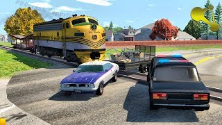 Stuck at rails (train railroad crossing crashes, police rescue fails) #9 BeamNG.Drive