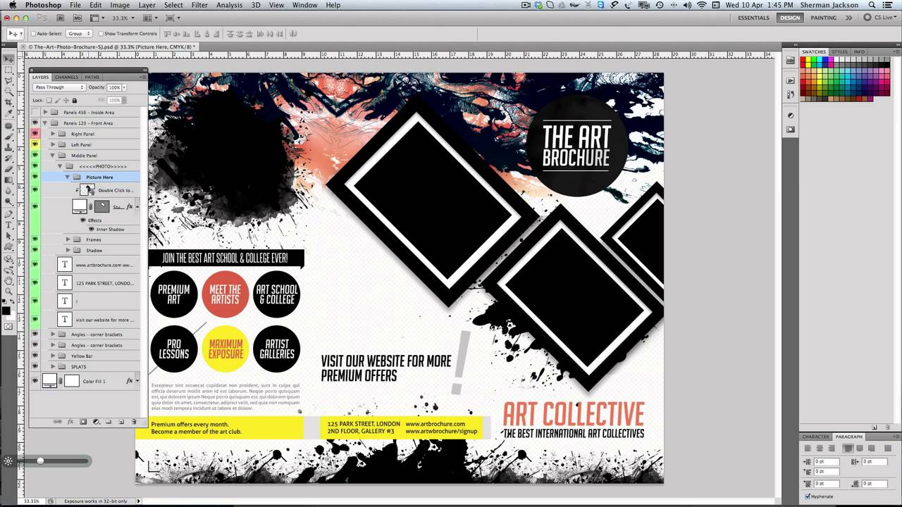 Art Photo Tri Fold Brochure Template Youtube