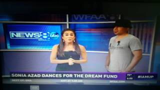 Emmy award reporter Sonia Azad & David Herrera dance salsa on televison Channel 8 ABC for charity