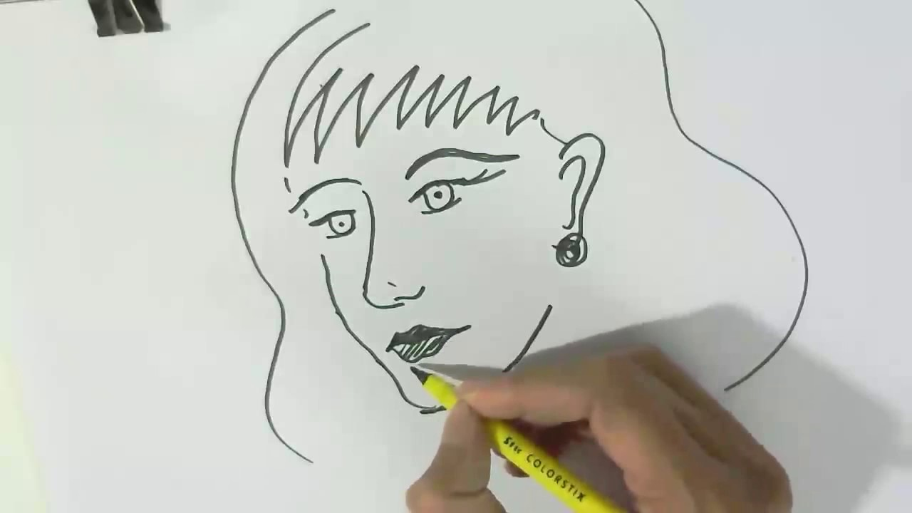 How to draw a girls face in easy steps for children kids beginners