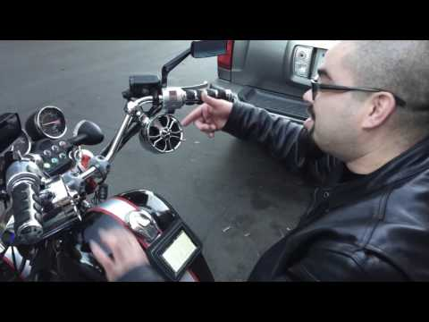 Frankie Tries Out The New Hawk Tech Motorcycle Speakers at LeatherUp