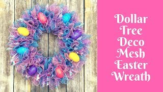 Dollar Tree Easter Crafts: Deco Mesh Easter Wreath