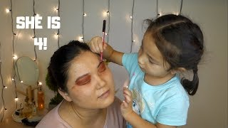 4 YEAR OLD SISTER DOES MY MAKE UP (SO CUTE) | AMKA AVARZED
