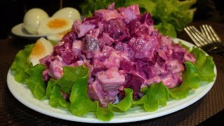 Салат со свеклой, сыром и селедкой
