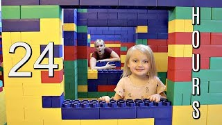 24 Hours in a LEGO FORT MANSION!