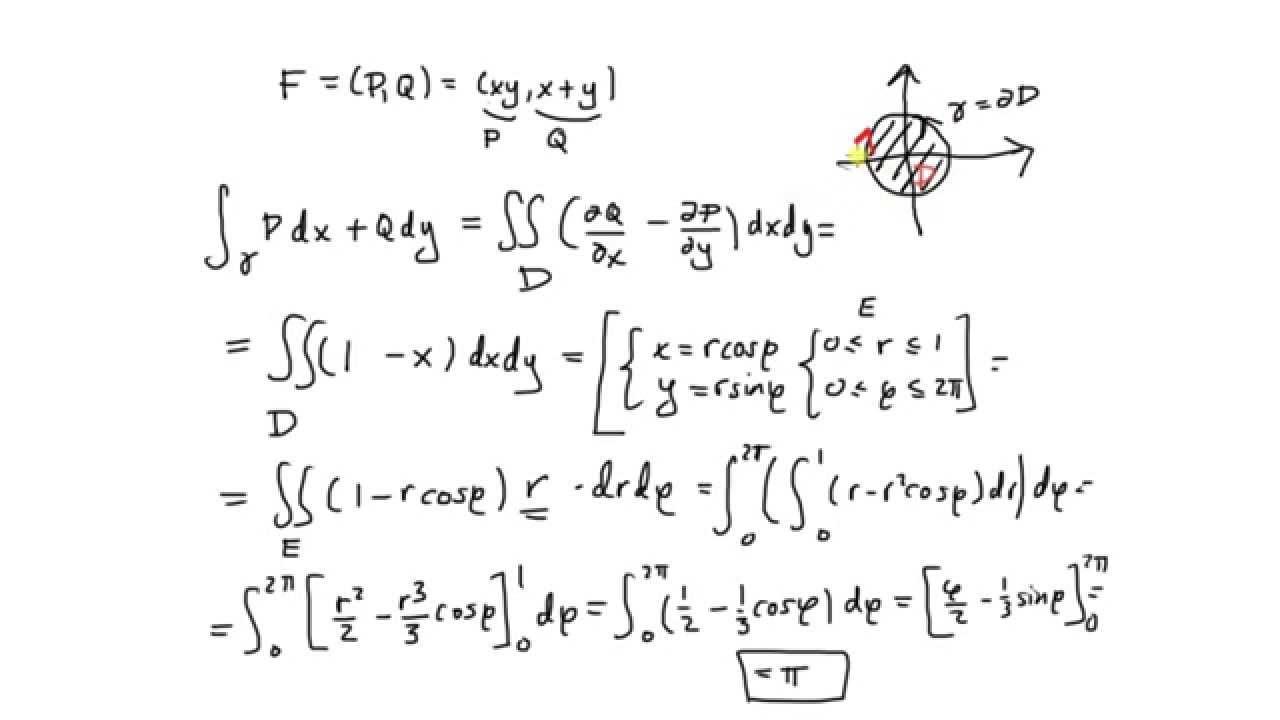 Vektor Ys Flerdim Del  Greens Formel Introduktion Exempel  Youtube