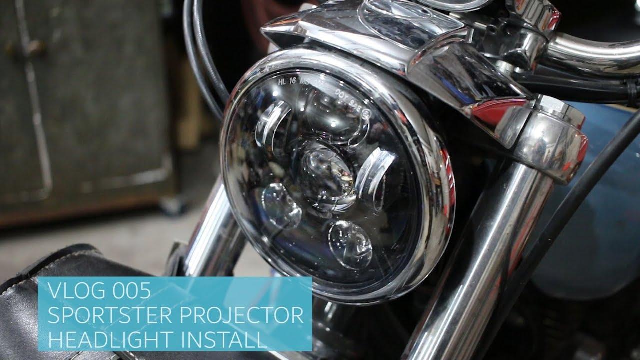 HARLEY SPORTSTER WISAMIC LED HEADLIGHT INSTALL & COMPARISON