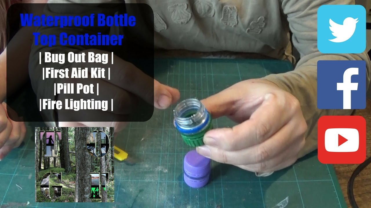 Waterproof Bottle Top Container   Bug Out Bag   First Aid Kit   Pill Pot    Fire Lighting  