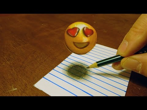 😍SMILING FACE WITH HEART-EYES - DRAWING 3D HEART EYES EMOJI FOR KIDS