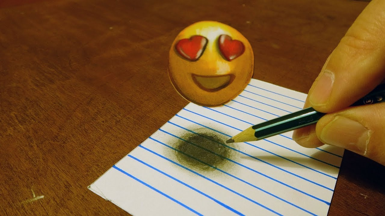 😍SMILING FACE WITH HEART EYES   DRAWING 12D HEART EYES EMOJI FOR KIDS   BY  VAMOS