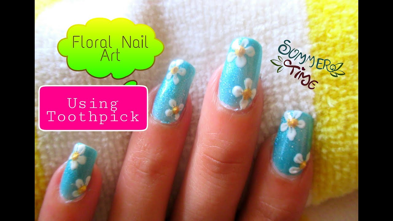 Easy flower nail art using toothpick - YouTube