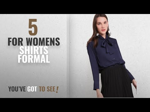 Top 10 For Womens Shirts Formal [2018]: Dark Blue Front Tie Formal Office Party Shirt Blouse