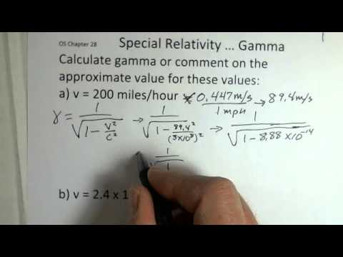 Special Relativity, Calculating the Gamma Factor