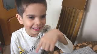 Дети едят чёрные макароны и учатся правилам хорошего поведения Black noodles