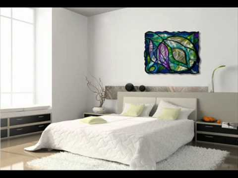Modern Rectangular Stained Gl Swirls Metal Wall Decor Hanging Wmv