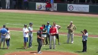 Mike Stud Throws First Pitch Pawsox 6.28