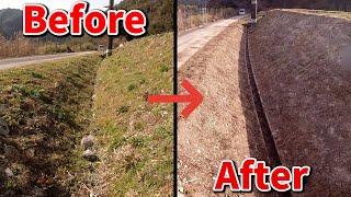 手作業せずにバックホウのみで田んぼの排水溝を掃除します。