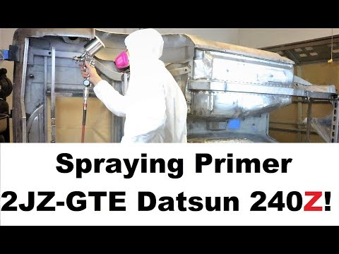 Brian's 2JZ 240Z Build Episode 8 – Spraying Primer on the Frame!
