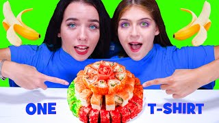 ASMR ONE T-SHIRT FOOD CHALLENGE By LiLiBu (Sushi, Cake, Bubble Gum, Candy)