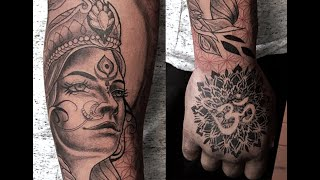 Tattoo Timelapse & Process Walkthrough - Neo Traditional Style - Hindu Goddess Parvati Tattoo