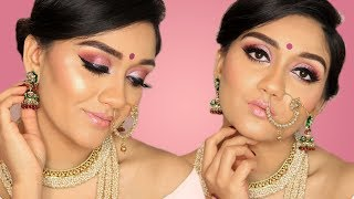 SOFT PINK BRIDAL MAKEUP TUTORIAL | HUDA BEAUTY NEW NUDE PALETTE | MAKEUP BY ANKITA