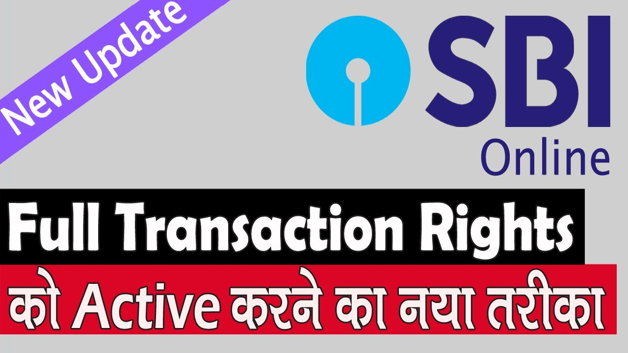 how to activate transaction rights in sbi net banking
