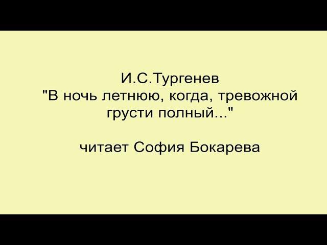 Изображение предпросмотра прочтения – СофияБокарева читает произведение «В ночь летнюю» И.С.Тургенева