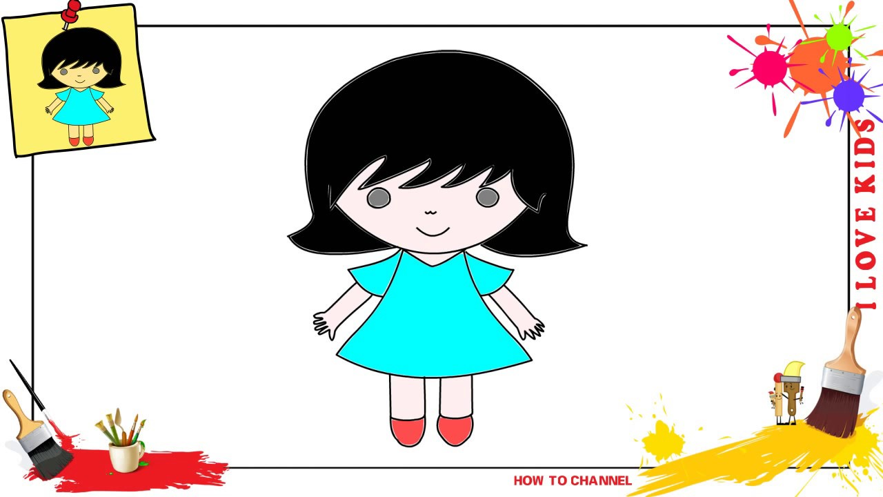How To Draw A Girl Simple Easy Slowly Step By Step For Kids