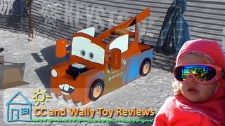 Disney Tow Mater Cardboard Derby Sledding and Scooby Doo Mystery Machine Ski Hill Snowboarding