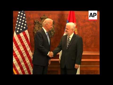 Serbian President Boris Tadic with US Vice President Joseph Biden