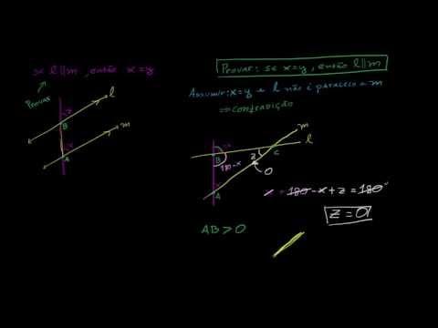 Equivalência de um ângulo correspondente implica em retas paralelas