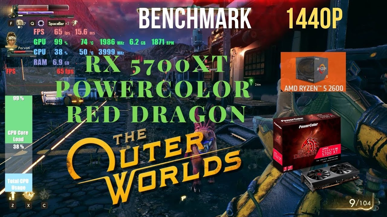 The Outer Worlds RX 5700 XT Powercolor Red Dragon Benchmark