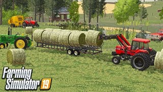 BALING & HAULING HAY | PICKED UP MY CHILD HOLD TRACTOR (FARM SAVE ROLEPLAY) FS19
