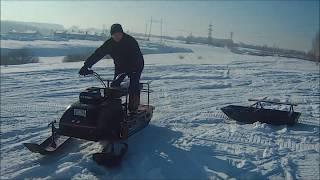 самодельный снегоход из самодельной мотособаки (покатухи по горкам)
