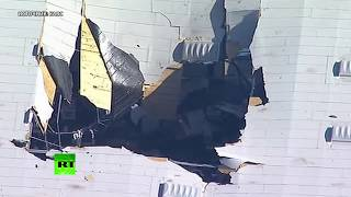 В США истребитель F-16 врезался в склад — видео последствий