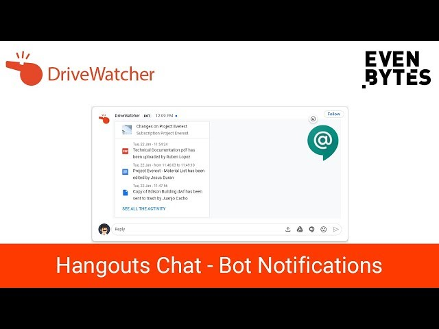DriveWatcher Bot - Google Drive notifications through Hangouts Chat