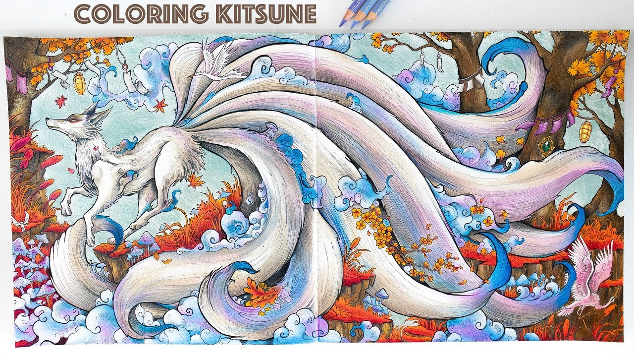 Coloring kitsune from mythomorphia coloring book speed coloring