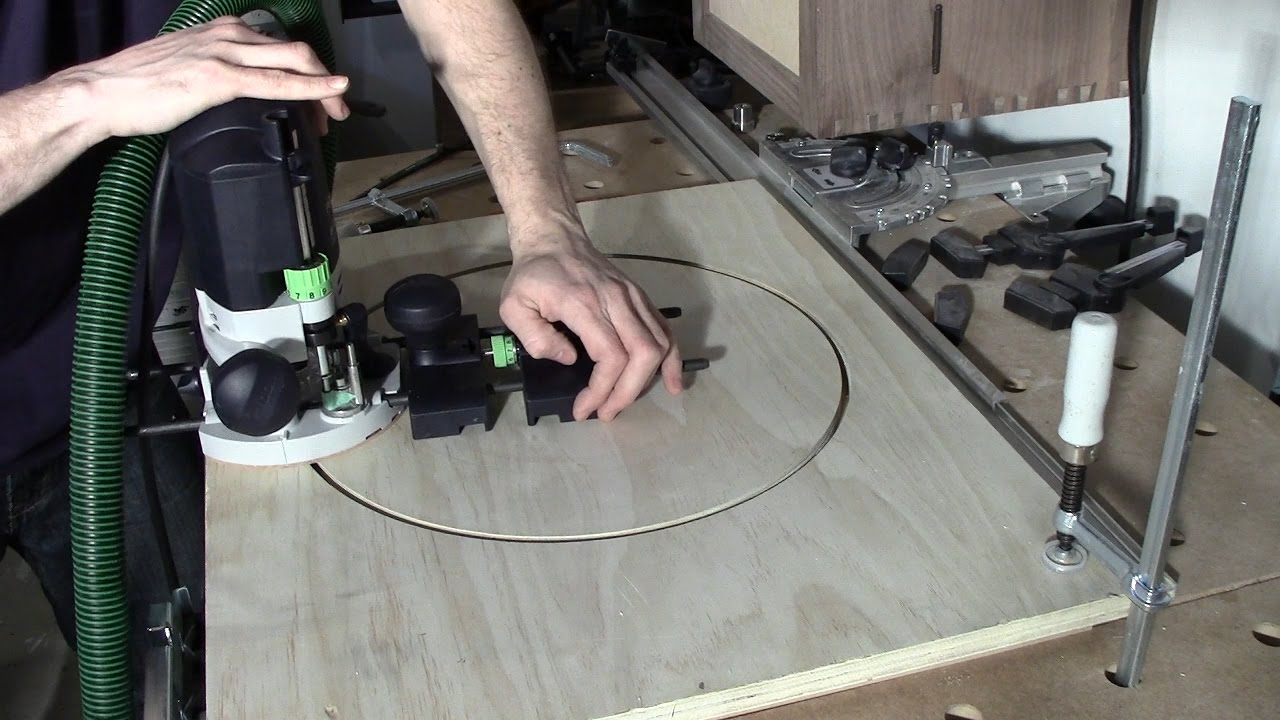 Festool of 1400 router circle jig using guide stop mod youtube festool of 1400 router circle jig using guide stop mod greentooth Image collections