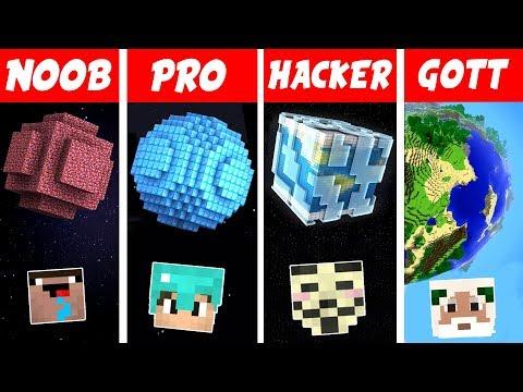 Minecraft NOOB vs. PRO vs. HACKER vs. GOTT: PLANETEN BAUEN in Minecraft