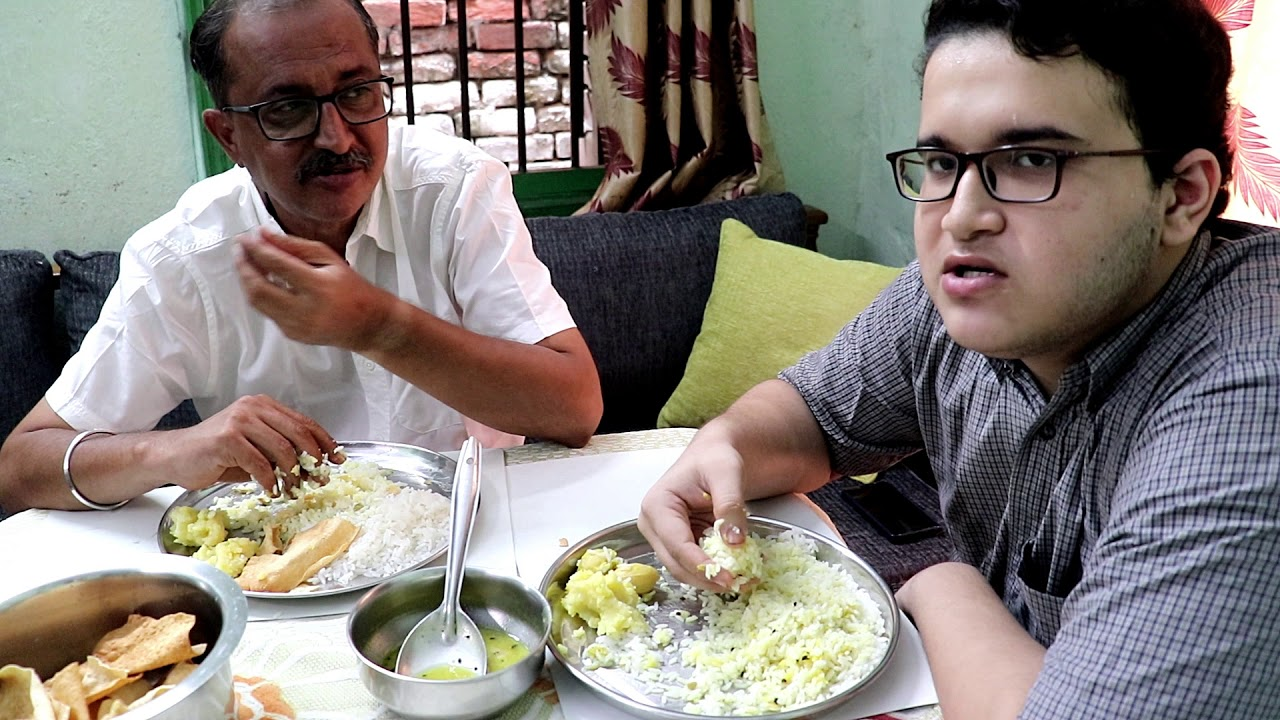 Eating Show With Sound Rice Sour Dal Boiled Potato Papad bhaja