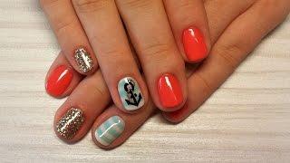 Дизайн ногтей гель-лак shellac -  Роспись ногтей - Дизайн блестками (видео уроки дизайна ногтей)