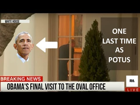 BARACK OBAMA LAST FEW MOMENTS IN THE WHITE HOUSE ( OVAL OFFICE ) !!