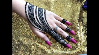 How to apply easy simple jewellery ornamental henna mehndi designs for hands tutorial eid 2019