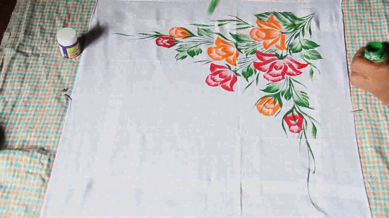 Awesome hand painting on Handkerchief - YouTube for Simple Fabric Painting Designs For Tablecloth  45gtk