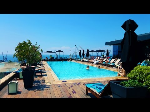A roof garden pool with a view to Mount Olympus. The Met Hotel Thessaloniki, Greece.