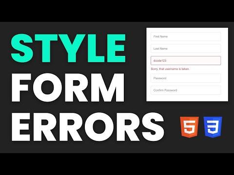 Styling Form Validation Errors - HTML & CSS Tutorial