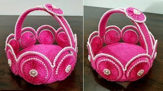 Waste Bangle Basket | Best Out Of Waste Bangle and Wool | Home Decor