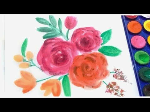 Melukis Bunga Mawar Dengan Cat Air Mudah How To Draw Rose With