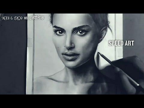 pencil sketch of Natalie Portman|| portrait drawing|| Speed Art