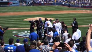 Dodgers Opening Day 2013 -- Celeb Intro & Koufax First Pitch